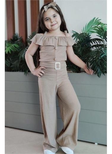 Riccotarz Kız Çocuk Stylish Lines Bej Alt Üst Takım Bej